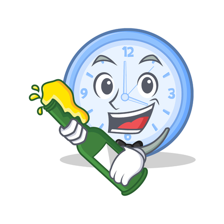 With beer clock character cartoon style vector illustration