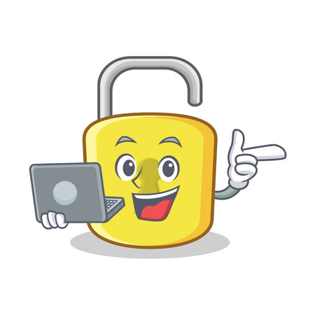 With laptop yellow lock character mascot vector illustration