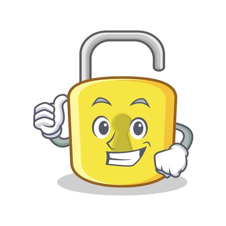 Thumbs up yellow lock character mascot