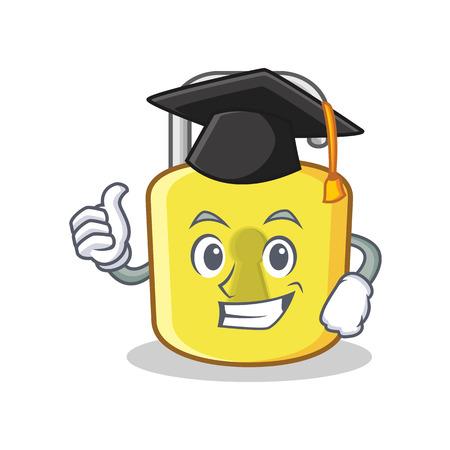 Graduation yellow lock character mascot Illustration