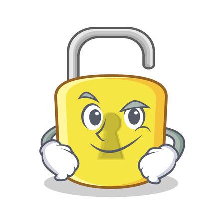 Smirking yellow lock character mascot