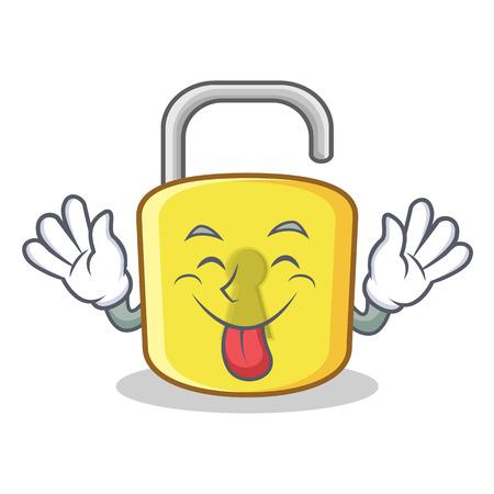 Tongue out yellow lock character mascot