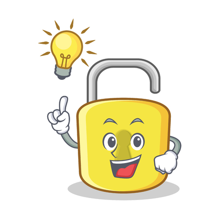 Have an idea yellow lock character mascot Illustration