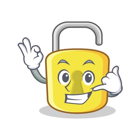 Call me yellow lock character mascot Illustration