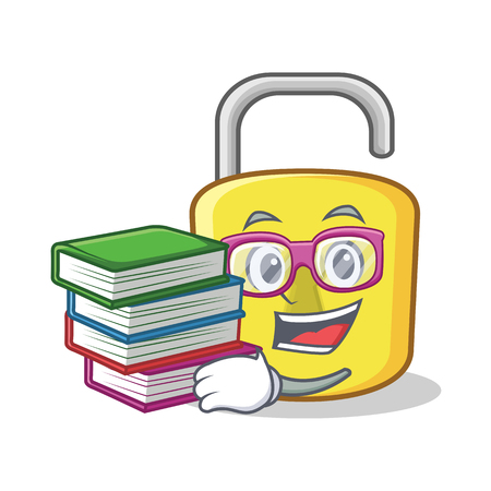 Student with book yellow lock character mascot Illustration