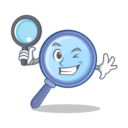 Detective magnifying glass cartoon character vector illustration