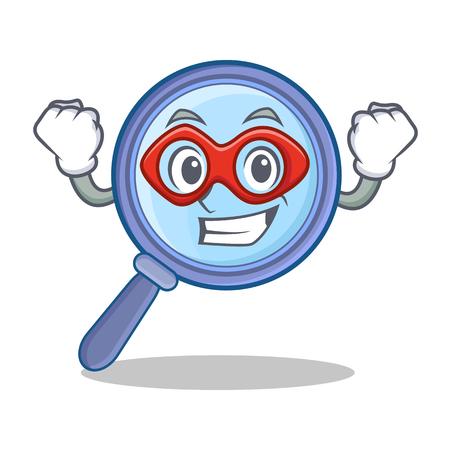 Super hero magnifying glass character cartoon
