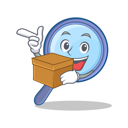 With box magnifying glass character cartoon