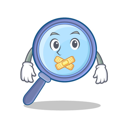 silent: Silent magnifying glass character cartoon