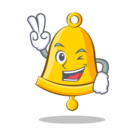Two finger school bell character cartoon