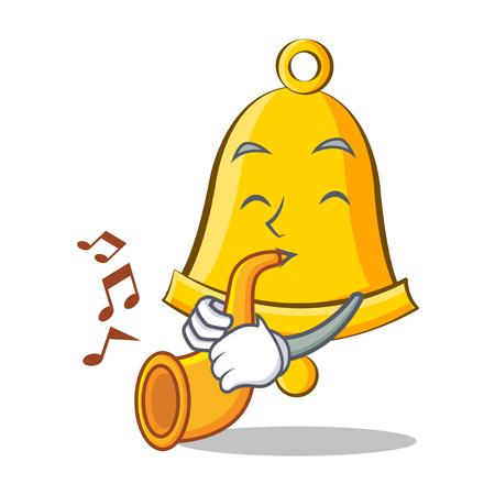 Z trąbką szkolny dzwonkowy charakter kreskówka Ilustracje wektorowe