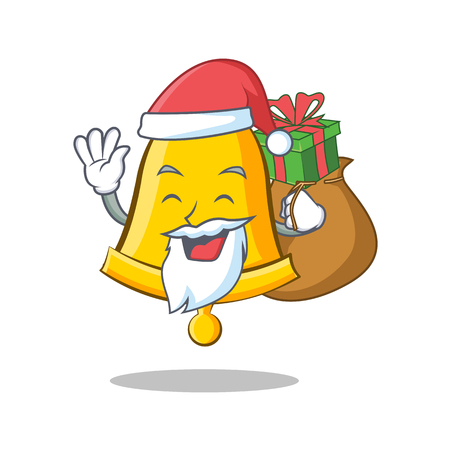 Santa with gift school bell character cartoon. Illustration