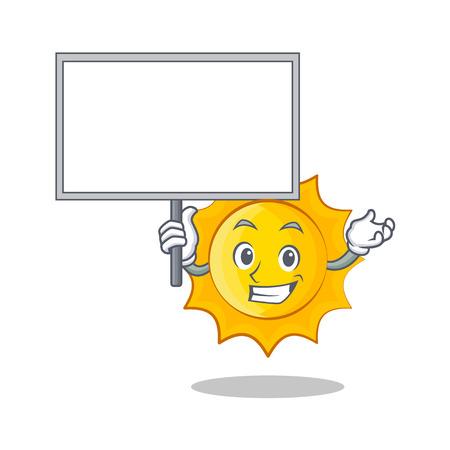 Bring board cute sun character cartoon Illustration