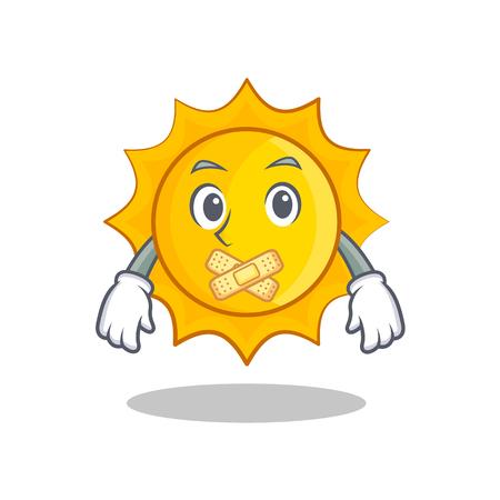 Silent cute sun character cartoon vector illustration Illustration