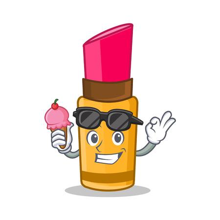 With ice cream lipstick character cartoon style Illustration
