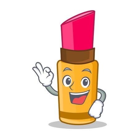 Okay lipstick character cartoon style Illustration