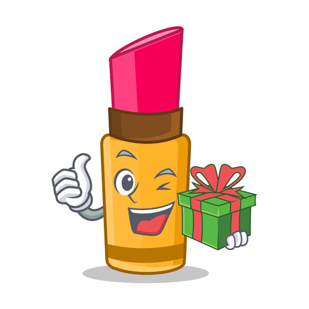 With gift lipstick character cartoon style