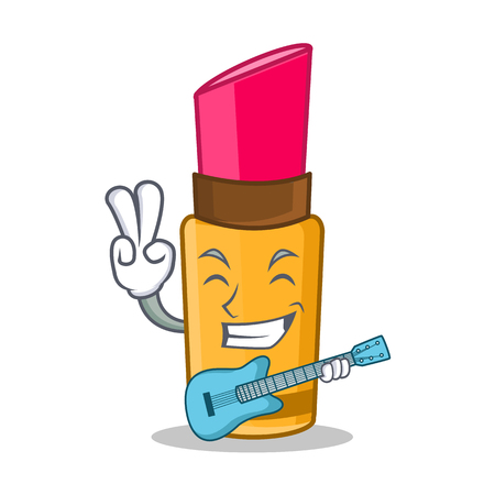 With guitar lipstick character cartoon style Illustration