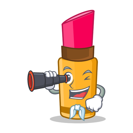 Sailor lipstick with binoculars character cartoon style