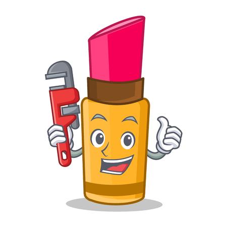 Plumber lipstick character cartoon style.