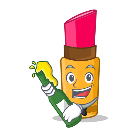 Character cartoon style lipstick holding beer