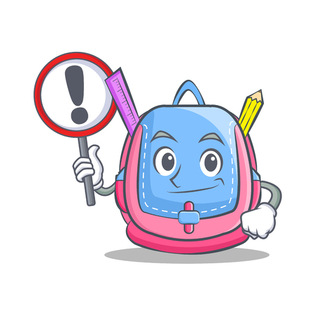 With sign school bag character cartoon