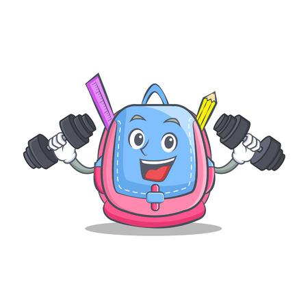 Fitness school bag character cartoon Illustration