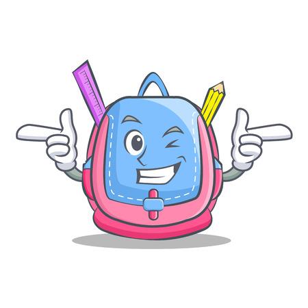 Wink school bag in cartoon character style