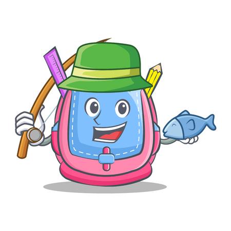 Fishing school bag character cartoon vector illustration