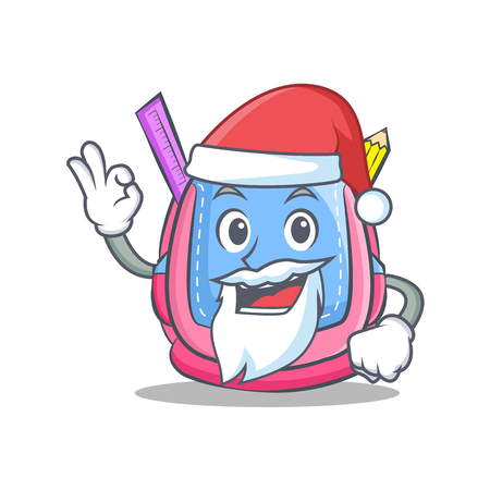 Santa school bag character cartoon vector illustration.