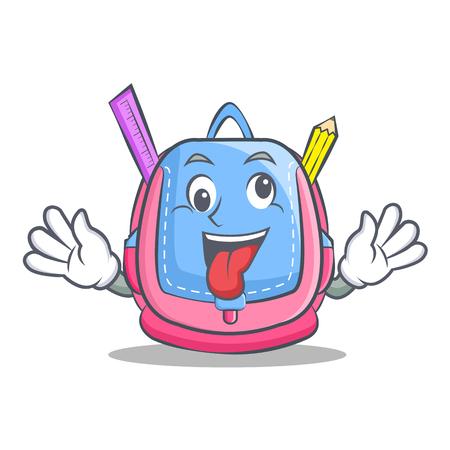 Crazy school bag character cartoon Illustration