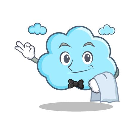 Waiter cute cloud character cartoon vector illustration.