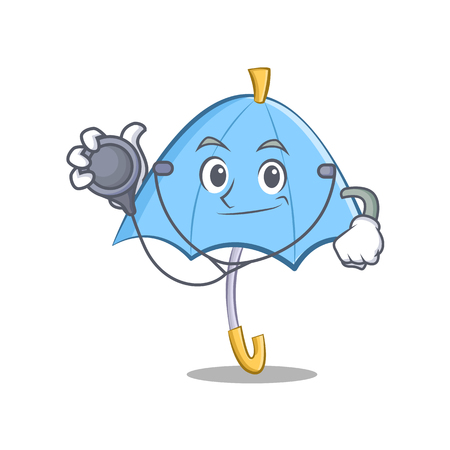 Blue umbrella doctor cartoon character