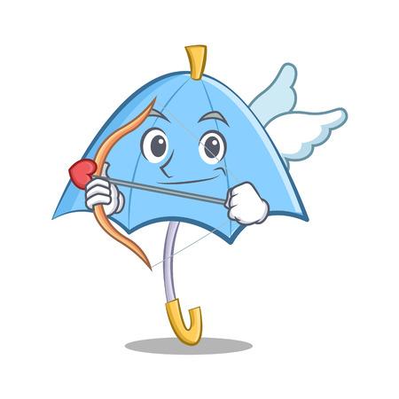 cartoon umbrella: Cupid blue umbrella character cartoon illustration