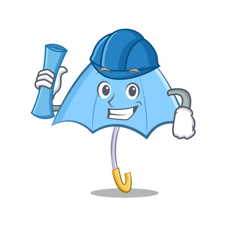 Architect concept of blue umbrella character cartoon icon with paper roll and a hat