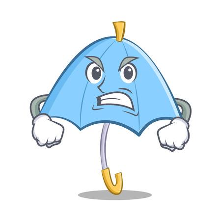 Angry blue umbrella character cartoon vector illustration