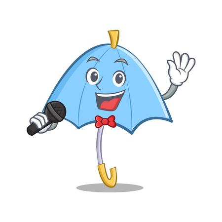 cartoon umbrella: Singing blue umbrella character cartoon vector illustration