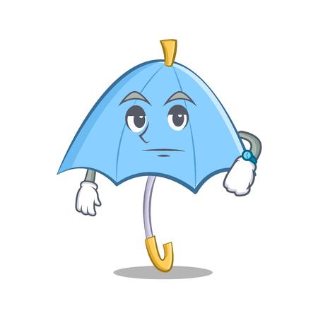 excited cartoon: Waiting blue umbrella character cartoon Illustration