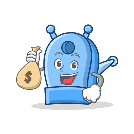 With money bag pencil sharpener character cartoon Illustration
