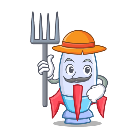 Farmer cute rocket character cartoon vector illustration Illustration