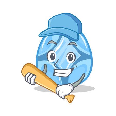 Playing baseball diamond character cartoon style vector illustration Illustration