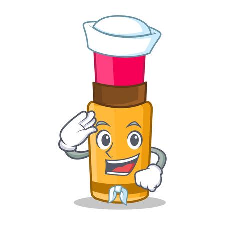 Sailor lipstick character in cartoon style