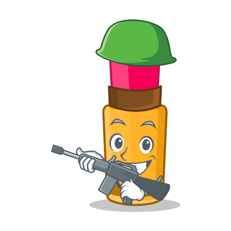Army lipstick character in cartoon style
