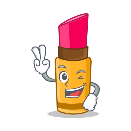 Two finger lipstick character in cartoon style Illustration