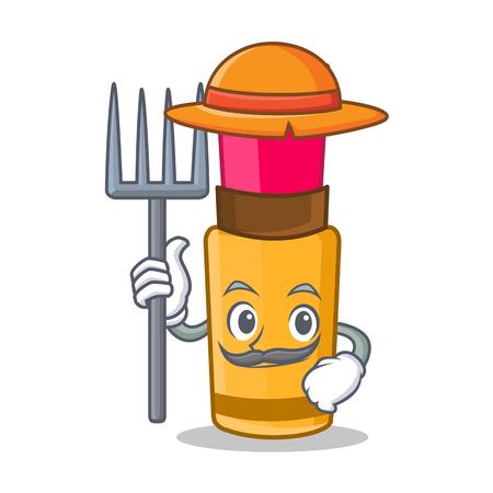 Farmer lipstick character cartoon style vector illustration Illustration