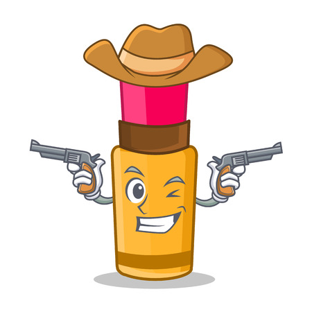 Cowboy lipstick character in cartoon style
