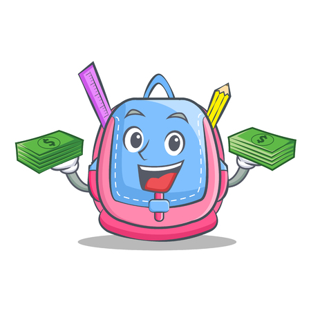 With money school bag character in cartoon style