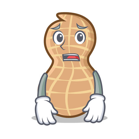 Afraid peanut character cartoon style