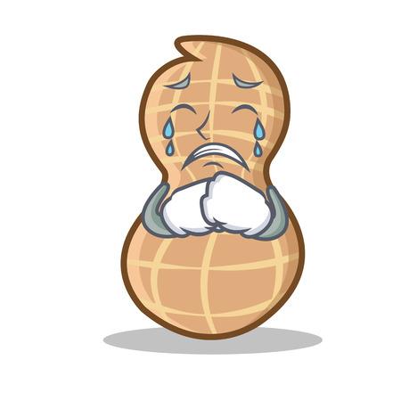 Crying peanut character cartoon style vector illustration