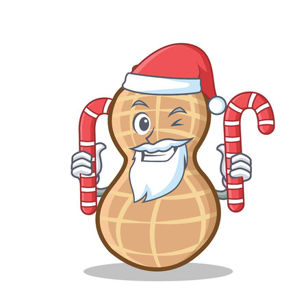 Santa with candy peanut character cartoon style vector illustration